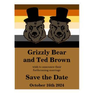 Bear Pride Bears Wedding Save the Date Postcard