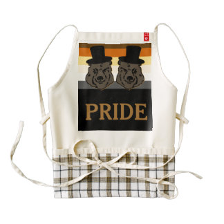 Bear Pride Black Gold Heart Apron with Gay Grooms