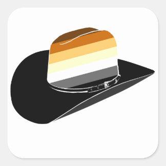Bear pride cowboy hat square sticker