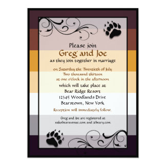 Bear Pride Custom Gay Wedding Invitations