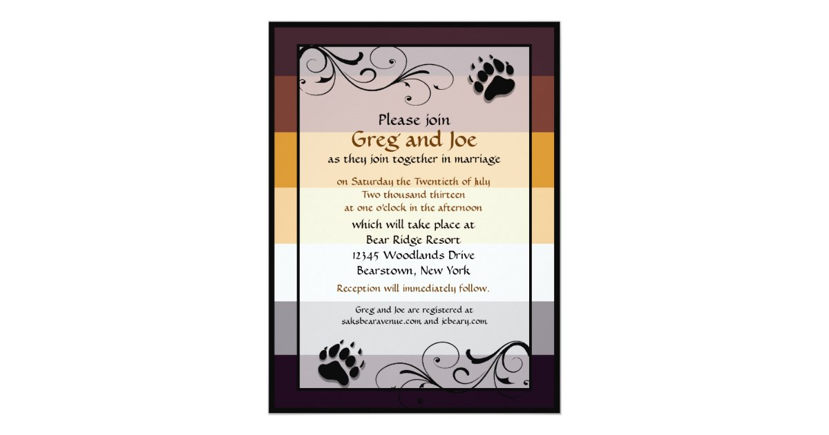 Gay Wedding Invitations: Bear Pride Custom Gay Wedding Invitations