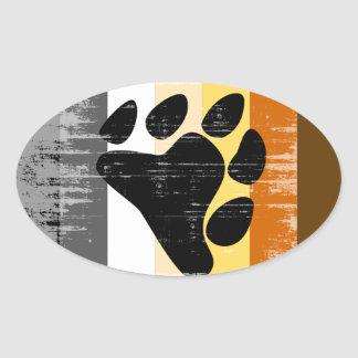Bear Pride distressed Oval Sticker