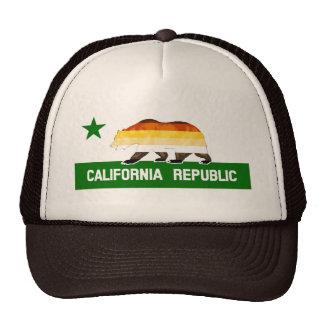 Bear Pride Flag Bear on California Republic Trucker Hat