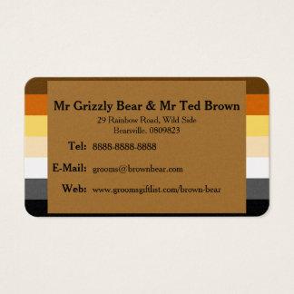 Bear Pride Flag Gold Gay Wedding Contact Card