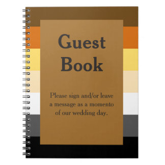 Bear Pride Flag Gold Guestbook for a Gay Wedding Notebook