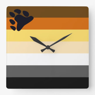 Bear Pride Full Flag Square Wall Clock for Gay Men