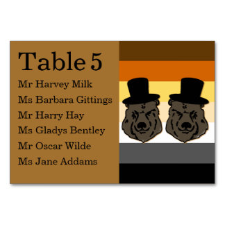 Bear Pride Gay Reception Table Seating Card Table Card