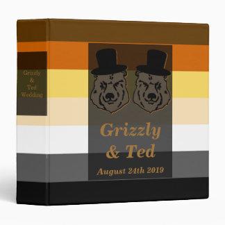 Bear Pride Gay Wedding Album Gold and Black 3 Ring Binders