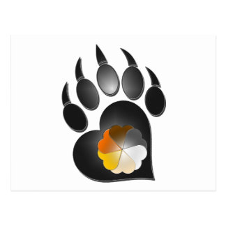 Bear Pride Heart Paw Postcard