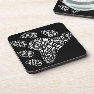 BEAR PRIDE PAW PATTERN WHITE -.png Drink Coasters