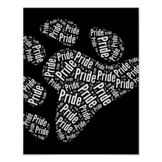 BEAR PRIDE PAW PATTERN WHITE -.png Posters