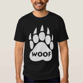 """Bear Pride Paw T-Shirt """"WOOF"""" Text"""