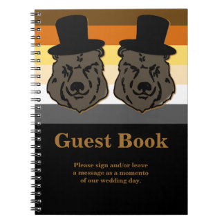 Bear Pride Wedding Guest Book Gold and Black