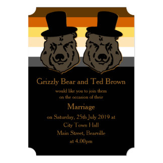 Bear Pride Wedding Invitation Black and Gold