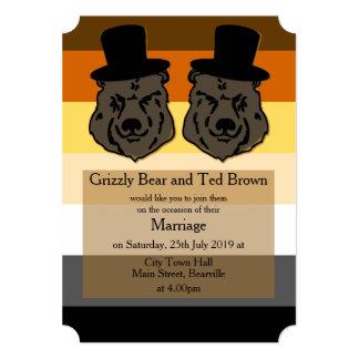 Bear Pride Wedding Invitation Full Flag
