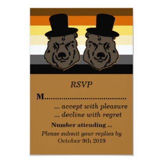 Bear Pride Wedding RSVP for Gay Grooms 3.5x5 Paper Invitation Card