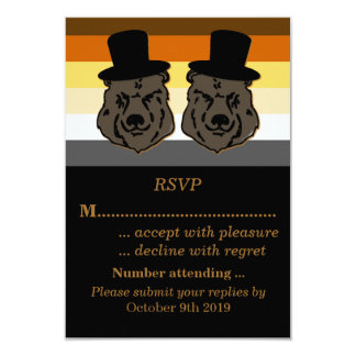 Bear Pride Wedding RSVP Gold and Black 3.5x5 Paper Invitation Card