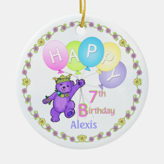 Bear Princess 7th Birthday Keepsake Double-Sided Ceramic Round Christmas Ornament