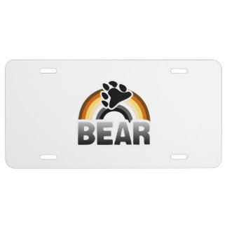 BEAR RAINBOW FLAG 2 -.png License Plate