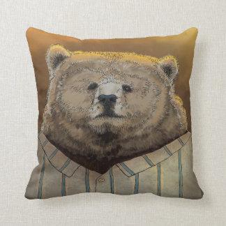 Bear ready for hibernation throw pillow