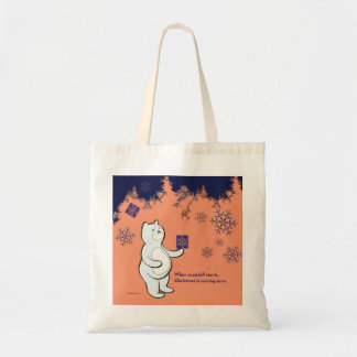Bear receives a gift in Christmas Tote Bag