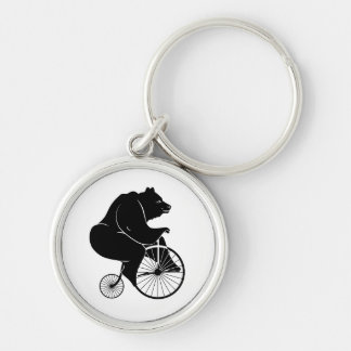 Bear Rider on Penny Fathing Bicycle Keychain