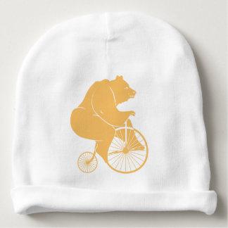 Bear Rider on Vintage Bike Baby Beanie