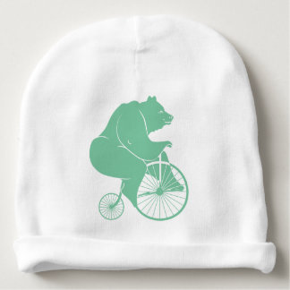 Bear Rider on Vintage Bike Baby Beanie