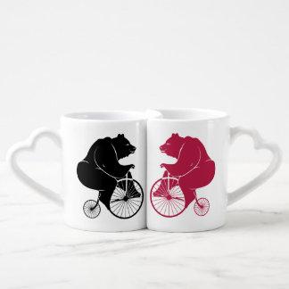 Bear Riders on Vintage Bike Coffee Mug Set