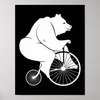 Bear Riding Penny Farthing Bike Poster