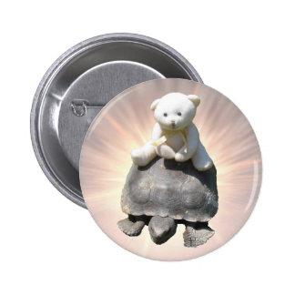 Bear riding Turtle Button