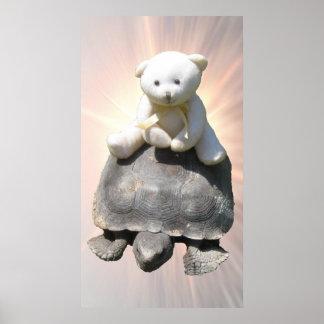 "Bear riding Turtle Poster 36X20"""
