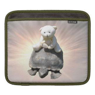 Bear riding Turtle Rickshaw Sleeve iPad Sleeves