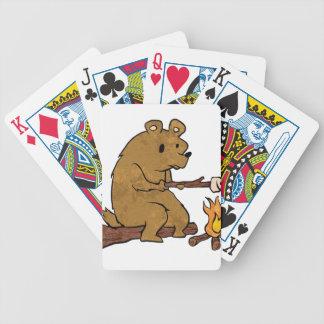 bear roasting marshmallows bicycle playing cards