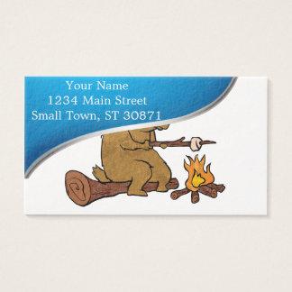 bear roasting marshmallows business card