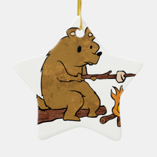 bear roasting marshmallows ceramic ornament