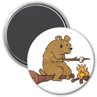 bear roasting marshmallows magnet