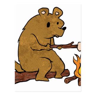bear roasting marshmallows postcard