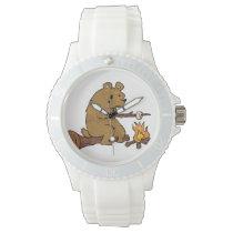 bear roasting marshmallows wrist watch