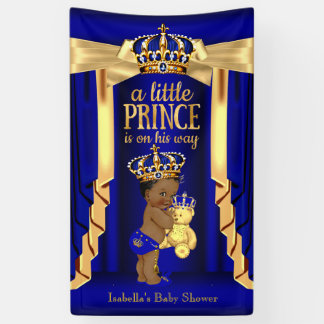 Bear Royal Blue Silk Gold Crown Baby Shower Ethnic Banner