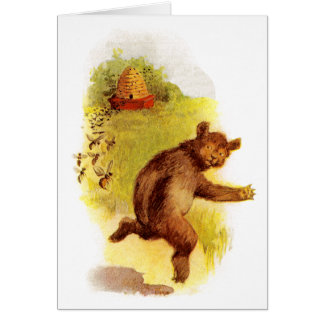 Bear Running From Bees Card