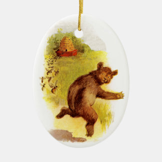 Bear Running From Bees Ceramic Ornament