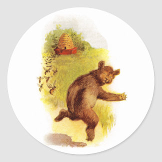 Bear Running From Bees Classic Round Sticker