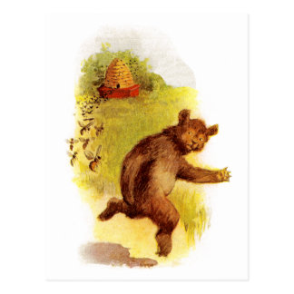 Bear Running From Bees Postcard
