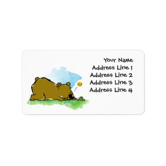 Bear Saying Hi To Catepilar Label