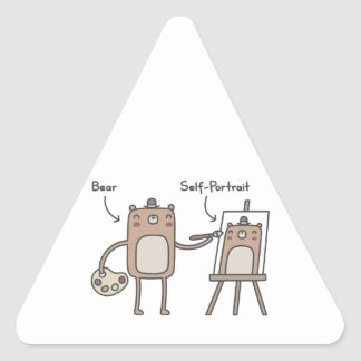 Bear Self-Portrait Triangle Sticker