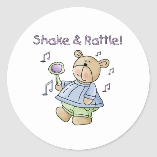 Bear Shake and Rattle Classic Round Sticker