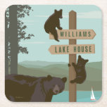 """Bear Sign Post Square Paper Coaster<br><div class=""""desc"""">Anderson Design Group is an award-winning studio in Nashville, Tennessee. Founder Joel Anderson and his team of talented artists love to create classic-looking poster designs. ADG prints are often mistaken for vintage posters created in the early to mid-20th Century. That's because Anderson Design Group goes to great lengths to create...</div>"""