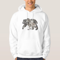 Bear Silhouette With Trees, Wild Nature Hoodie