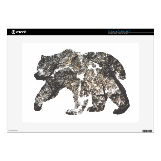 Bear Silhouette With Trees, Wild Nature Laptop Skins